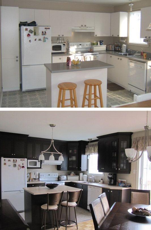 Redécorez votre cuisine du blanc au noir, photos de avant et après / kitchen makovers from white to black. Before and after