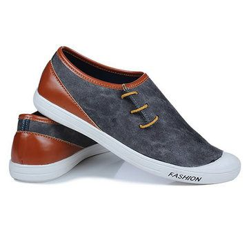 Men Breathable Hand Stitching Casual Leather Flats - US$27.28