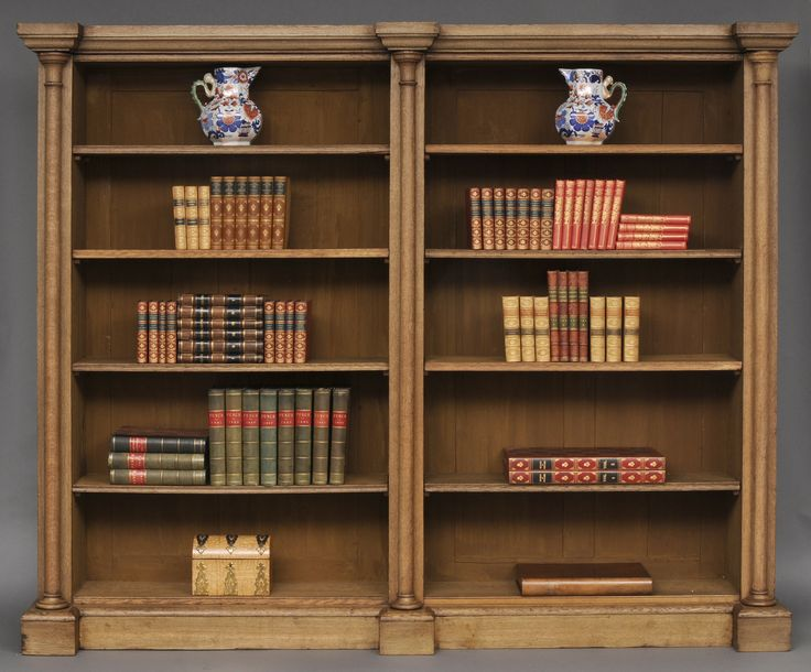 english william iv bleached oak library open bookcase circa