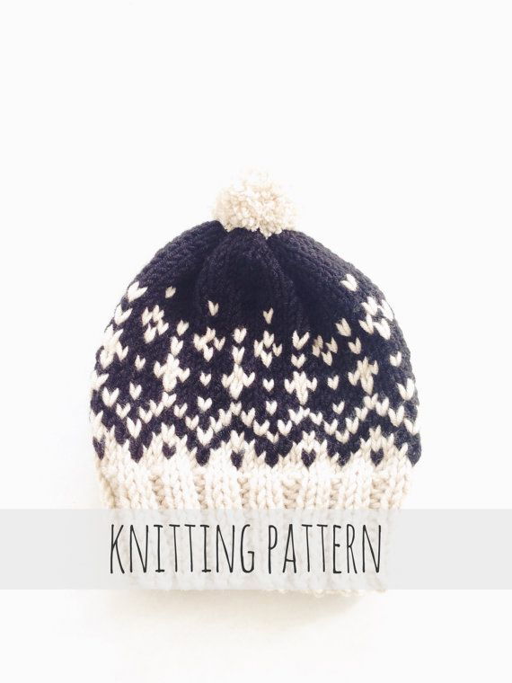 Stowe Toboggan by Two of Wands // Knitting Pattern for Pompom Winter Ski Fair Isle Patterned Alpine Beanie Cap Hat