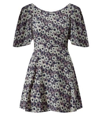 Madam Rage Purple Daisy Print V Back Dress