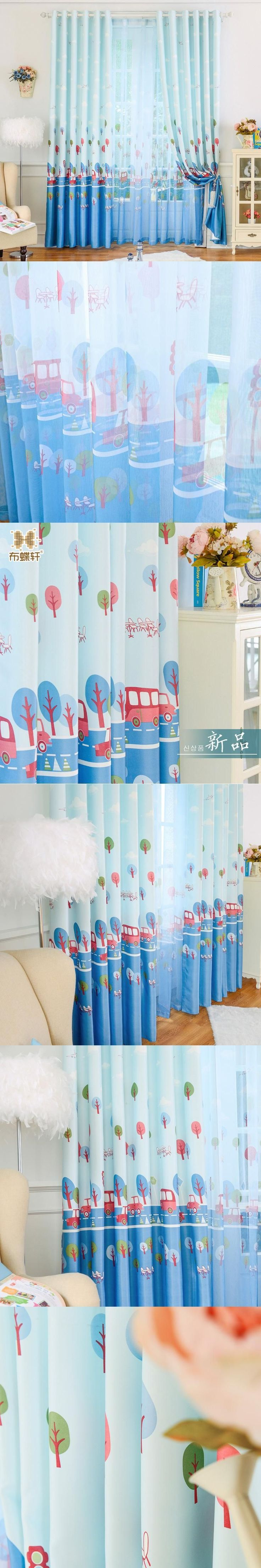 Hot Sale! Baby Room Window Curtains for Living Room Sky Blue Custom Size Blackout Drapes Curtain for Children Bedroom