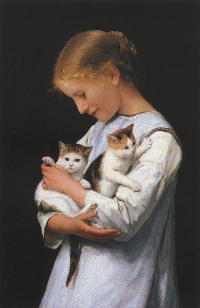 Albert Anker-Girl Holding Two Cats