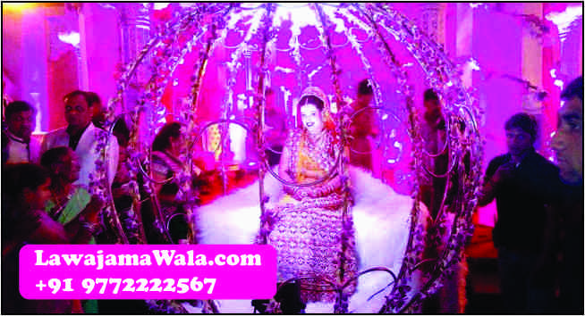 Wedding Band, Punjabi Dhol, Nagada, Chariot, Pagdi/Turbans/Safa, Mashal, Dulhan Doli Rental, Dandia Party, Ghori, Flower Umbrella/Chattar, Elephants & Camels, Tasha, Turai, Fire Acts, Dulhan Chatar, Millitary Band, Wedding Procession Light, Fire Works(Atishbazi),