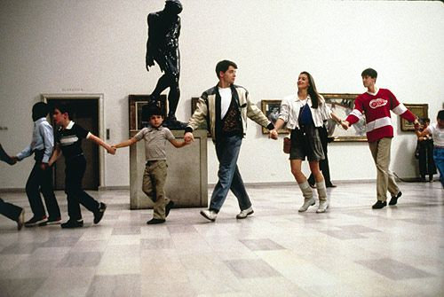 The museum scene of Ferris Bueller's Day Off <3 This scene right here encapsulates the beautiful meaning of this gorgeous film. Here's a trio of young adults surrounded by children with smiles on there faces and not a drop of creepiness to it. They're just enjoying the moment they are in and feeling a youth that one should never lose. Forever Young.