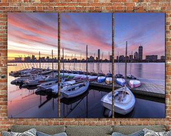 Boston Skyline With Sailboats At Sunrise On Canvas, Boston Art, Boston  Photo, Large