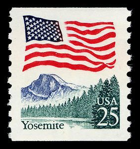 On this stamp the flag waves over Half Dome, one of Yosemite National Park's most impressive glacier-carved peaks.