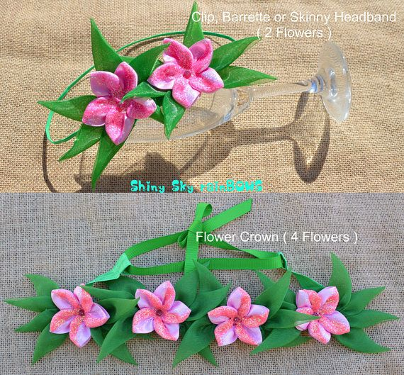 1 Moana de Disney inspirado arco del pelo de flores flores