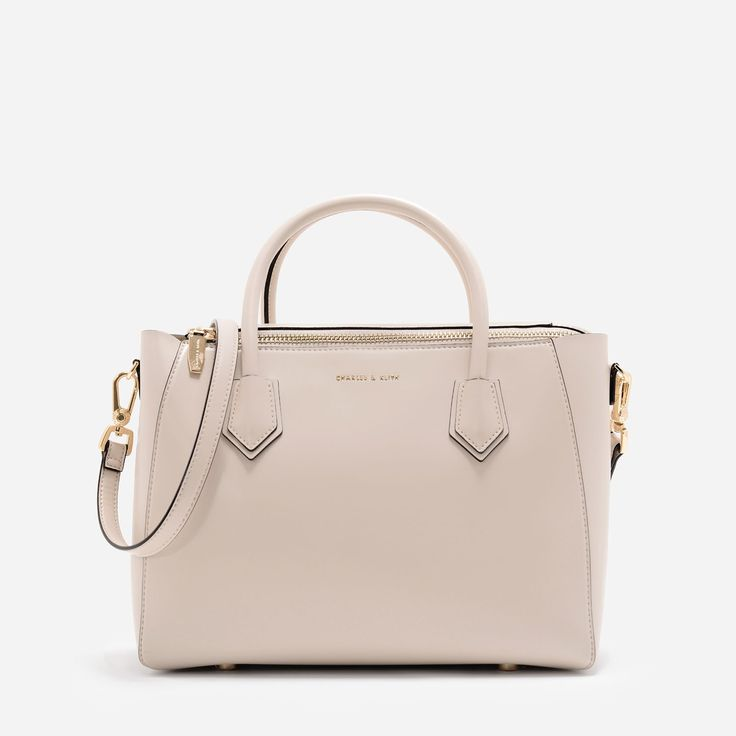 CHARLES & KEITH   Ivory Structured Top Handle Bag