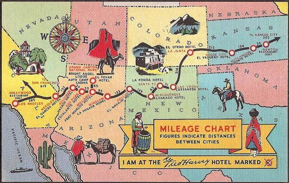 Vintage Map Postcard Mileage Chart between Harvey Hotels