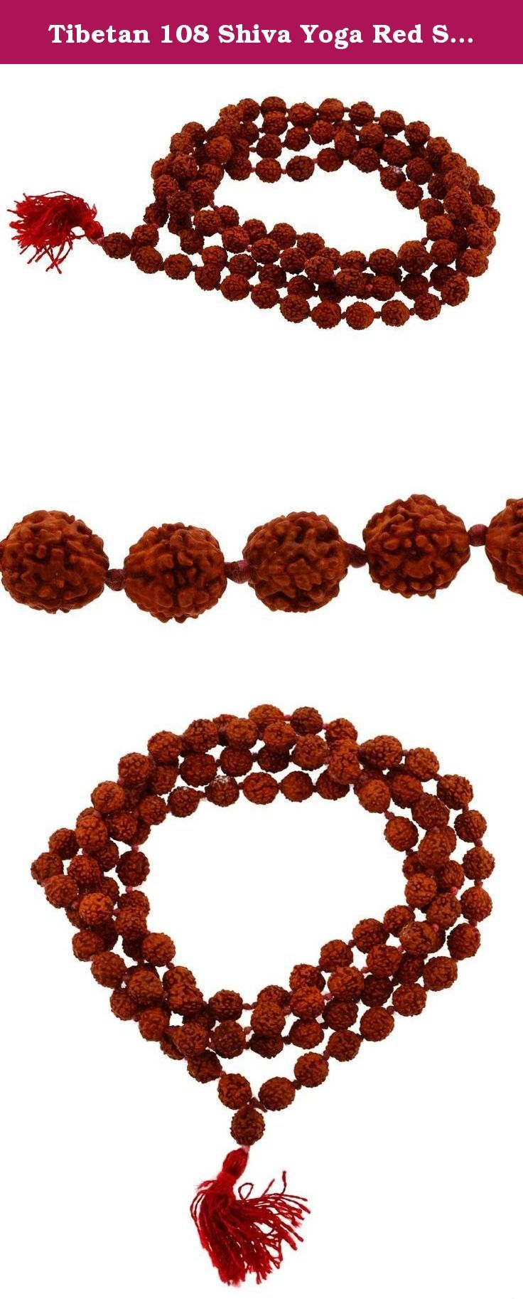Tibetan 108 Shiva Yoga Red String Knotted Rudraksha Seeds Mala (Red Tassel Knotted). This prayer beads mala necklace is made from Rudraksha seeds. It is handmade in Nepal.It is Believed that Rudraksha seed was originated from the tears of Shiva. He had been meditating for many years for the welfare of all creatures. On opening the eyes, hot drops of tears rolled down and the mother earth gave birth to Rudraksha trees. Rudraksha seed malas are the original Vedic Beads of Power worn by the...