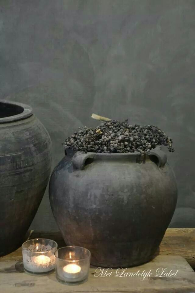 Prachtig dadeltakken en andere decoratie s pinterest potten bloempotten en decoratie - Oude huisdecoratie ...