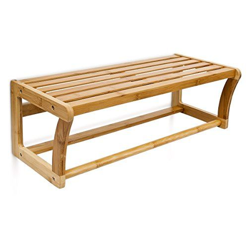 Relaxdays Wandregal Mit Handtuchstange Aus Bambus HBT 20 X 60 X 26 Cm  Badregal Zur Wandmontage