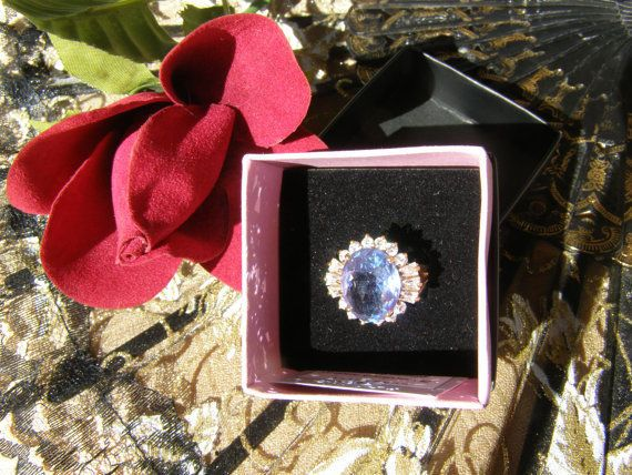 Blue Topaz white sapphires sterling silver 925 ring/ blue topaz ring size 9 #Cocktail