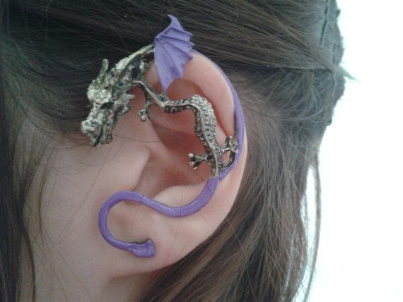 Hand painted dragon ear cuff   lavender color by StylesBiju, $14.90