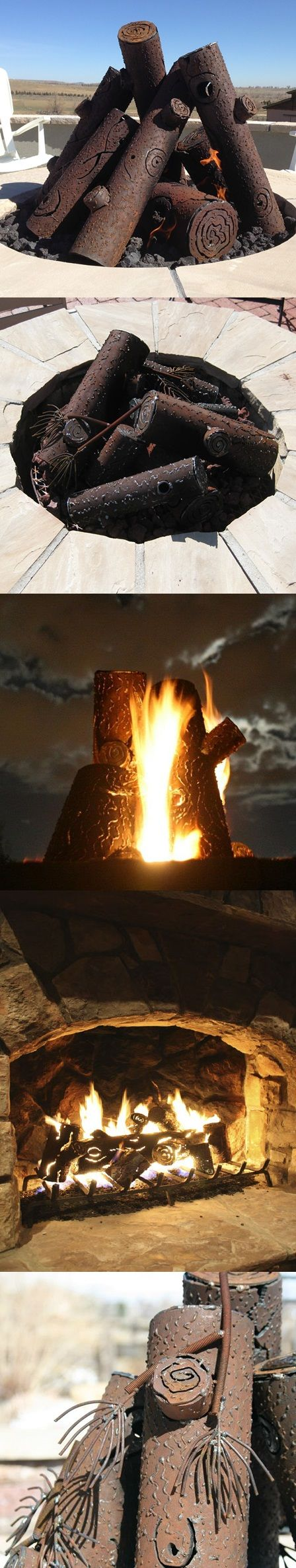 Hand-crafted steel log sets absorb and radiate heat in your fire pit/outdoor fireplace. Natural age and rust brings about a more natural look over time. Plus, they are beautiful pieces of craftsmanship in their own right! | TimberCraft Metal Art outdoor steel log sets.