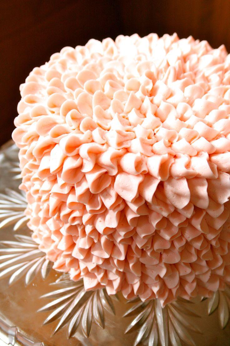 Pretty Coral Petal Tip Buttercream Cake Idea