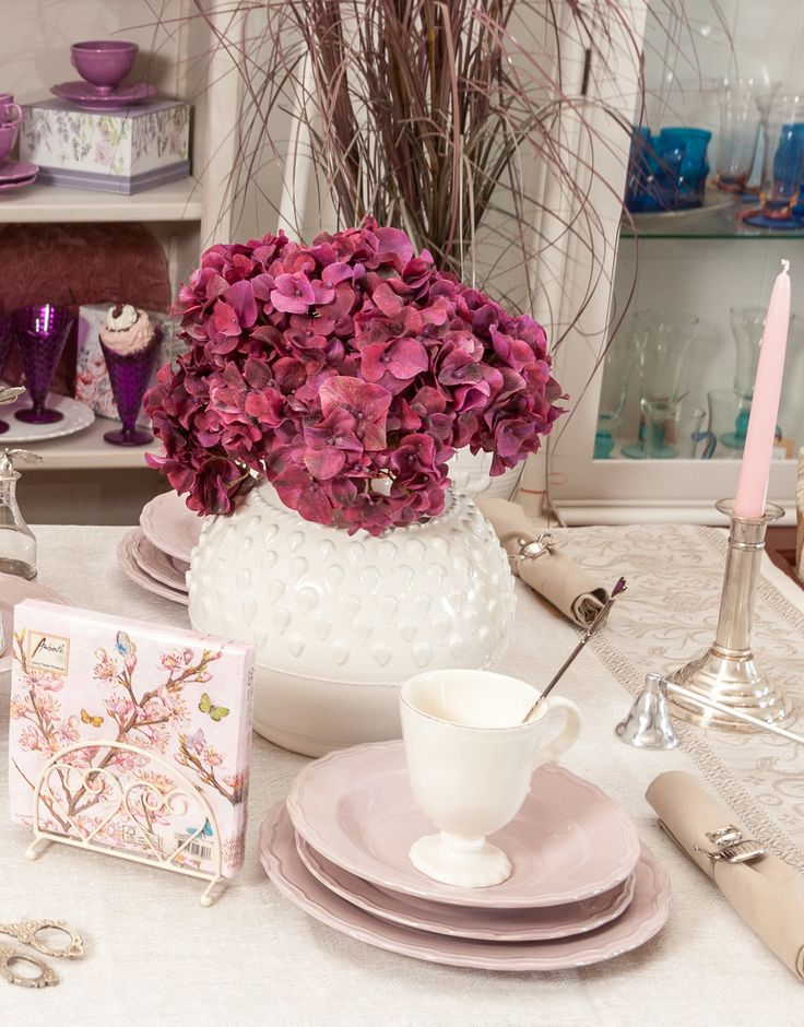Cherry Blossoms, Elegant vases, Hydrangea explosions. - See collection of Royal Plates & tea sets at Chic Ville