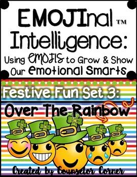 "It's your lucky day! This is the THIRD set of my ""EMOJInal Intelligence"" Series. What better way to help kids grow & show their emotional smarts than with Emojis? This festive fun set features ""Over The Rainbow"" themed décor printables and covers 9 big-time emotions!"