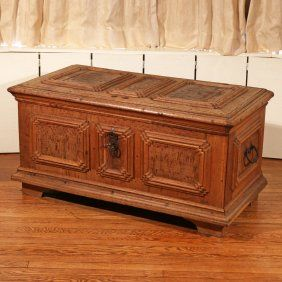 CONTINENTAL PANELED OAK COFFER