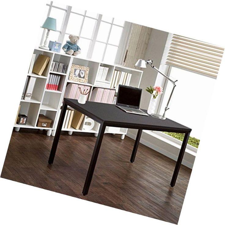 Black Study Computer Desk Solid Wood Adjustable Legs Workstation Office 120x60cm #Unbranded #Modern