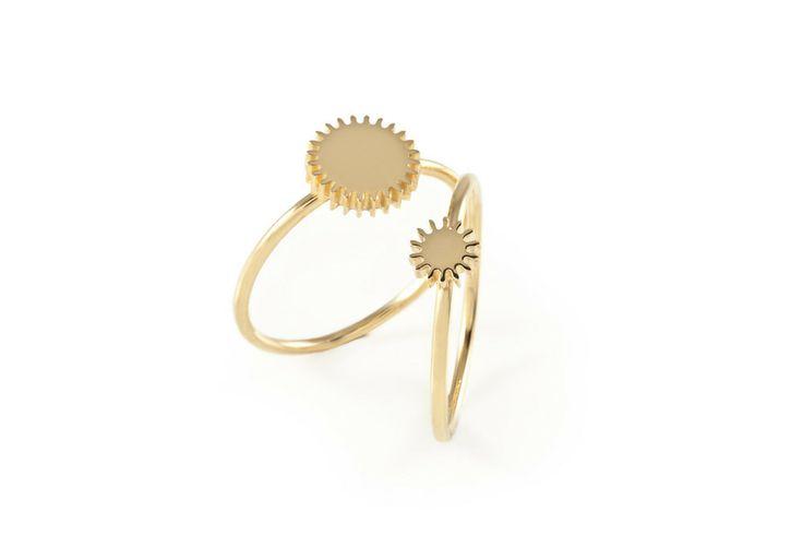 Medium & Small Gold Cog Rings