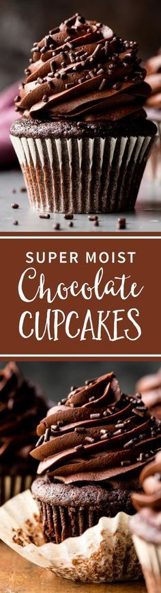The only chocolate cupcake recipe you need! Homemade, moist, rich, super chocolate flavor, and so easy to make with chocolate buttercream! Recipe on sallysbakingaddiction.com