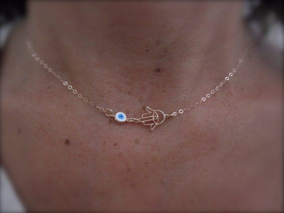 Rose gold Hamsa hand and evil eye necklace on goldfilled chain on Etsy, $28.00