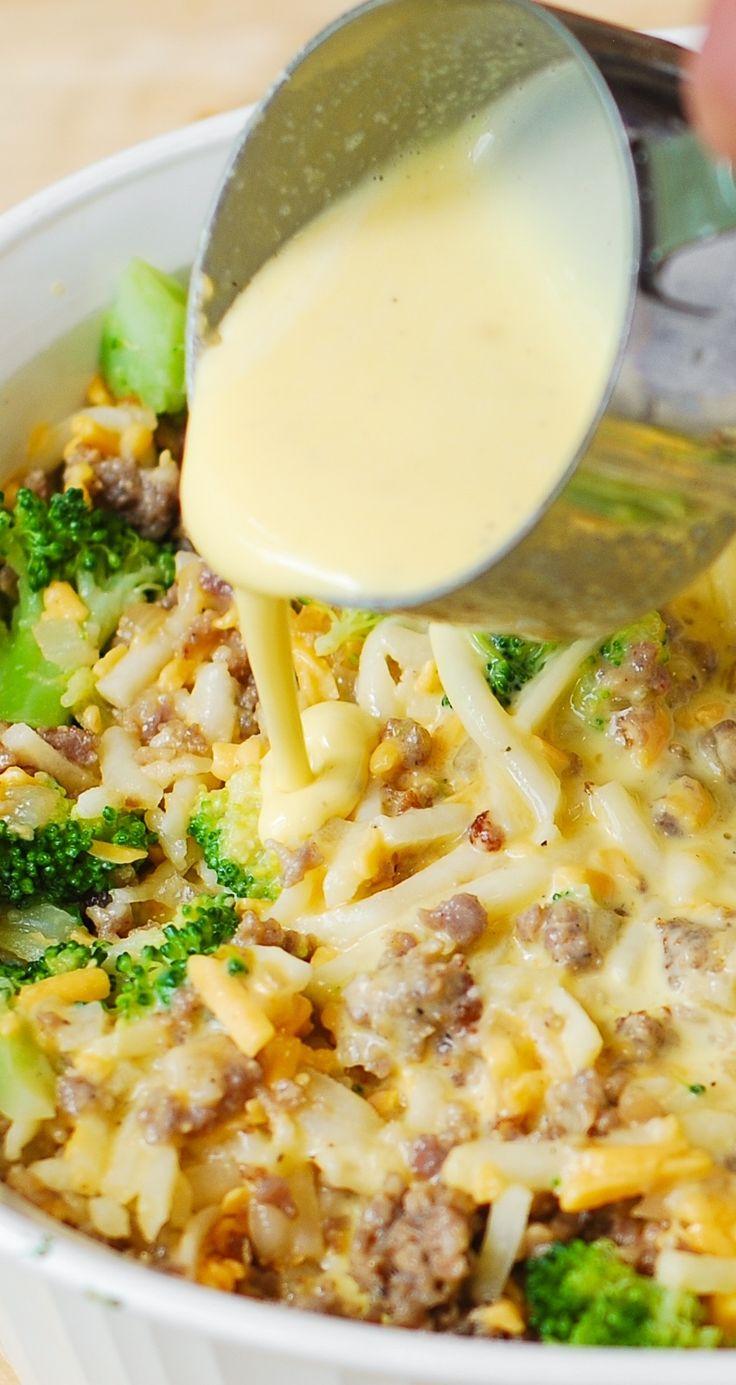 ... hash brown potatoes, broccoli, cheddar cheese, sausage and eggs
