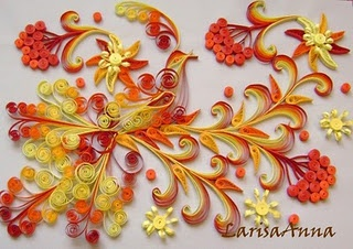 Beautiful Quilled Bird and flowers - bY: Larisa Anna