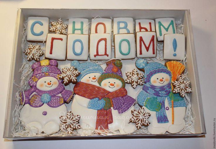 Купить Пряник новогодний Снеговик с елкой - пряники новогодние, снеговик, новогодний подарок, новогодняя игрушка