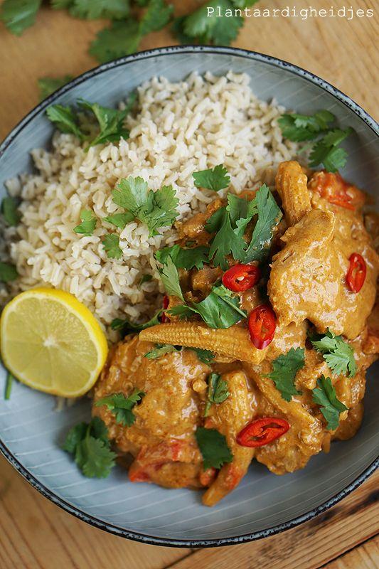 Plantaardigheidjes: Medaillons in romige rode pindakaas curry