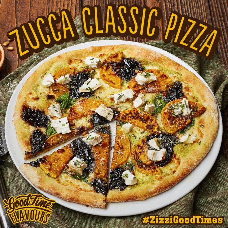 A creamy pesto base with mozzarella, roasted butternut squash, caramelised balsamic onions & spinach. Once baked, topped with crumbled goats' cheese, pine nuts & rosemary. #ZizziGoodTimes