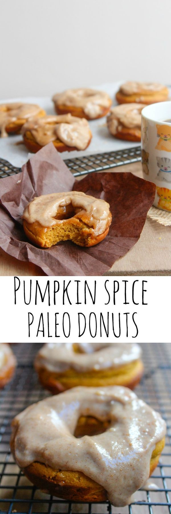 Baked paleo pumpkin spice donuts with a cashew cream maple frosting ...