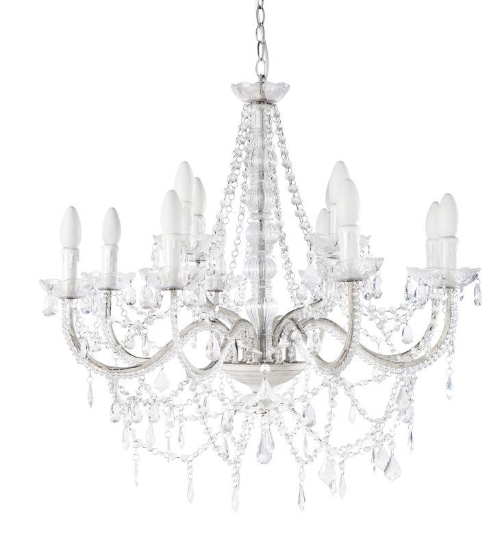 Lustre à pampilles 12 branches en métal blanc D 73 cm ISABEAU Maisons du monde 180€