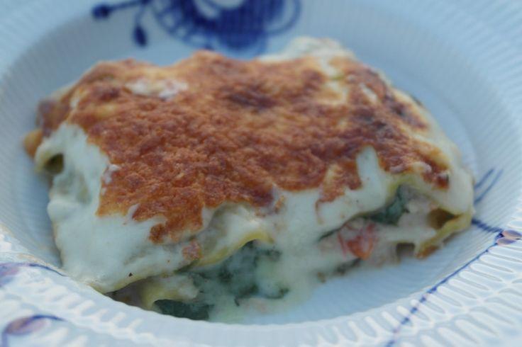Kyllinge lasagne med spinat og basilikum