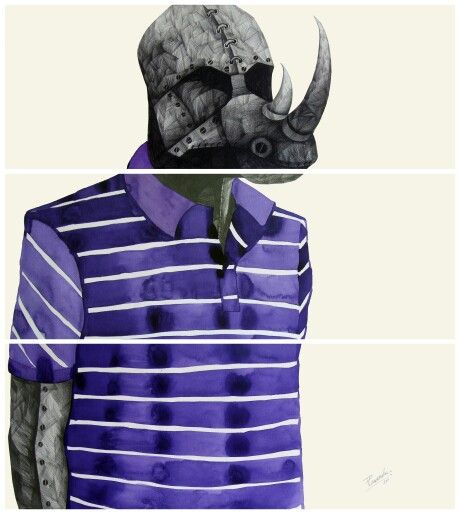 'R' for Rhinoceros, by Phaneendra Nath Chaturvedi  Pencil & water colour on archival paper,  30 X 33inc.,  work in 6 units (each unit 11 X 30 inc.), 2011
