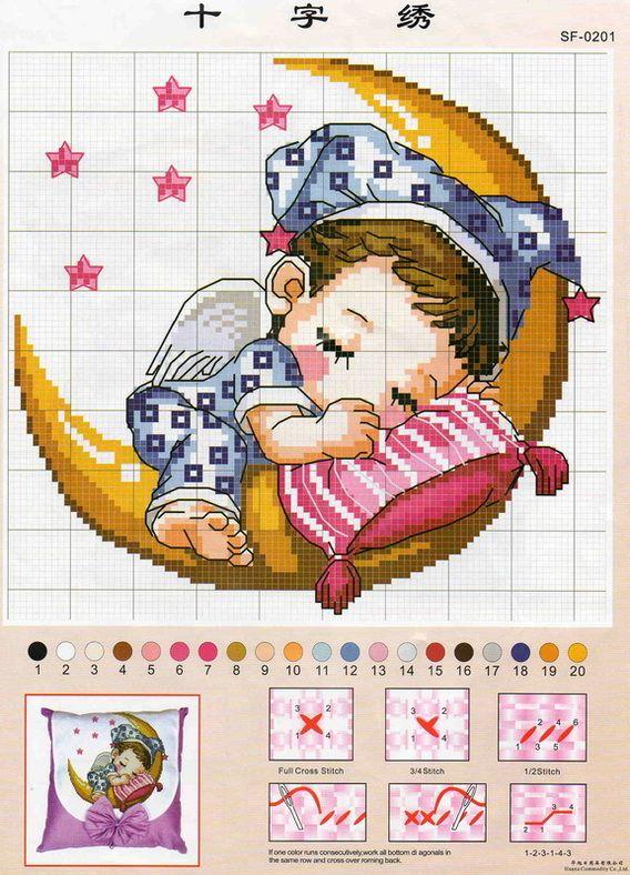 bellissimo schema di bebè che dorme sulla luna