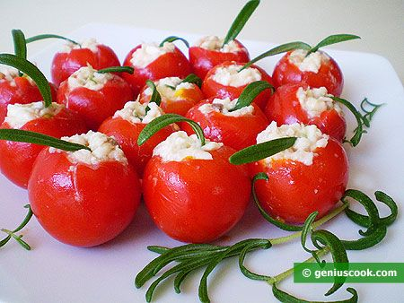 Cherry Tomatoes Stuffed with Mozzarella and Anchovy
