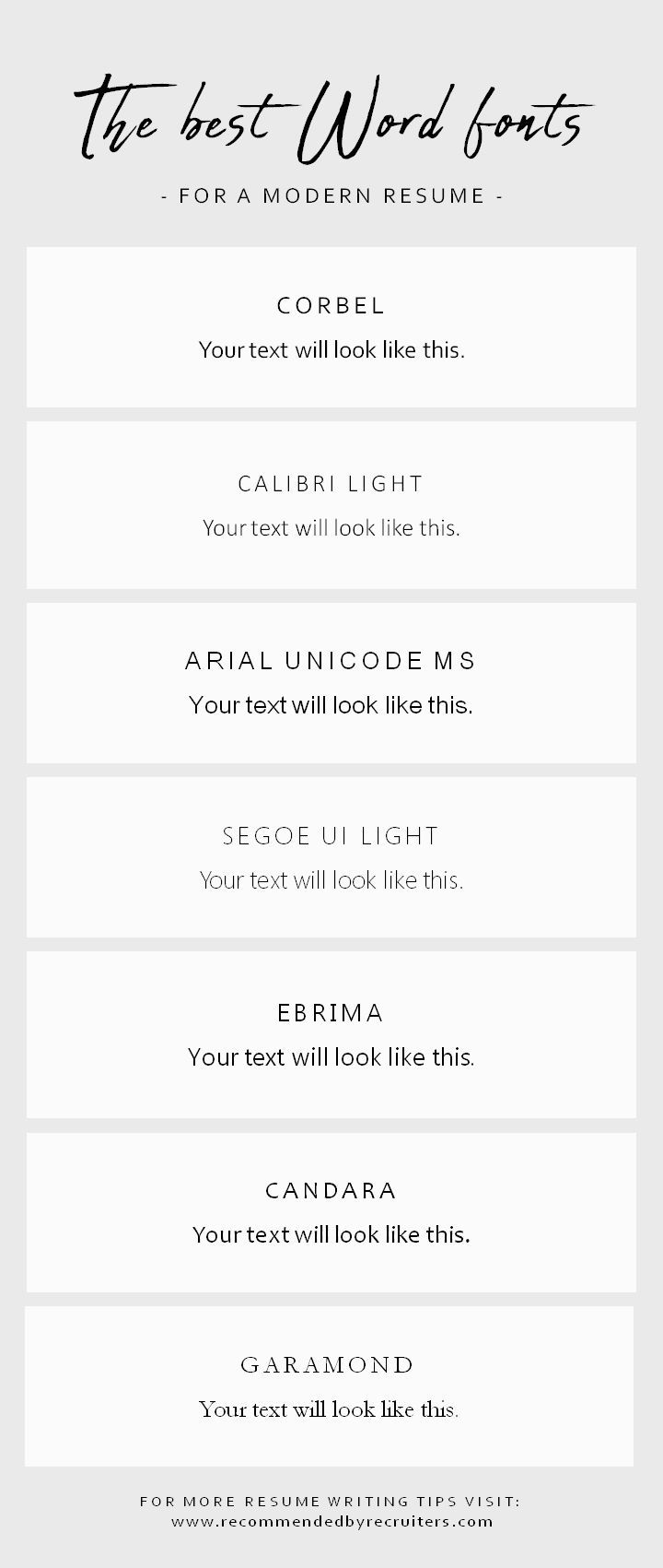 If You Want To Stand Out From The Crowd Choose A Modern Font For Your Resume This Is A Selection Of Fonts Available In W Word Fonts Modern Fonts Resume Fonts