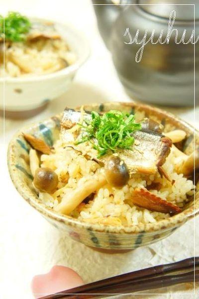 缶詰アレンジ・さんまの蒲焼缶詰と茸の簡単♪炊き込みご飯 by vegeful ...