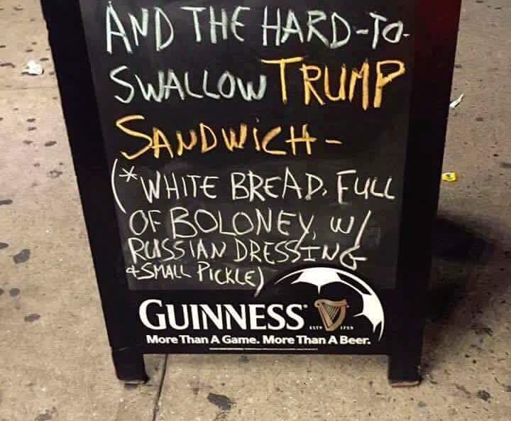 Introducing Donald J. Trump sandwich: White bread, full of bologna, hard to swallow w/small pickle.