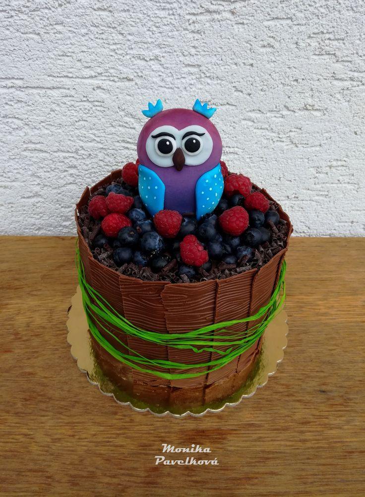 Owl choco-fruit CAKE. DORT sova.