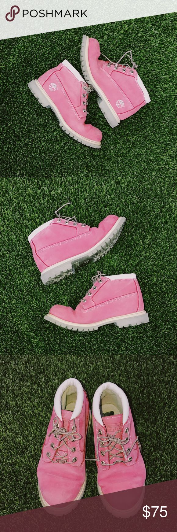 Pink Timberlands - Waterproof Pink Timberland Nellie Waterproof Chukka Boots 💓 Worn less than a handful of times, gently used, see photos for wear.  These comfy Nellie boots are the perfect blend of rugged and feminine. Looks great styled with everything from skirts to ripped jeans. This pair of boots retails for $130 right now on the Timberland website. Tag Size: 7M 🌸🌷OPEN TO OFFERS🌷🌸 Timberland Shoes Lace Up Boots