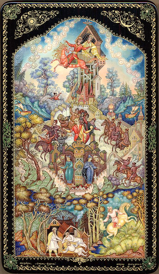 "Russian lacquer miniature from the town of Mstyora. ""Sivka-Burka"" (name of a horse, character of a Russian traditional fairy tale) by Alexander Dogadin."