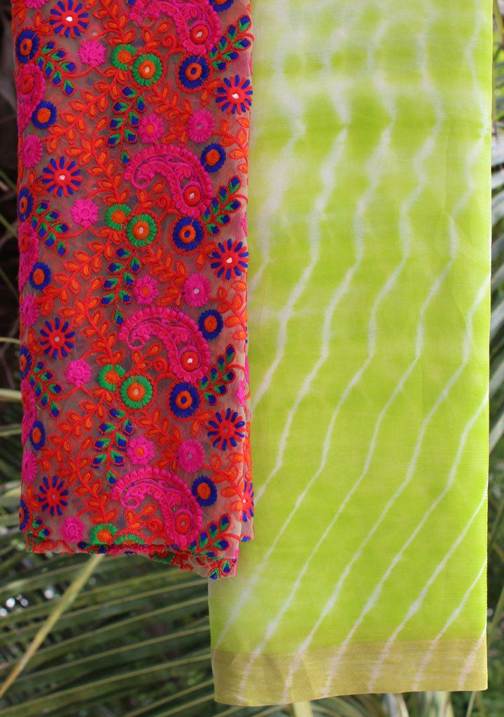 Lime Green Shibori saree with embroidered blouse piece