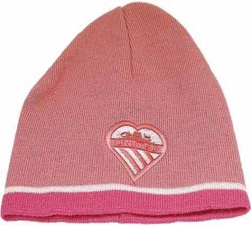 Dark Pink Beanie Hat with Heart United Manchester Shield