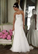 David's Bridal Wedding Dress: Petite Lace Fit-and-Flare Gown with Side Split Style 7YP3344