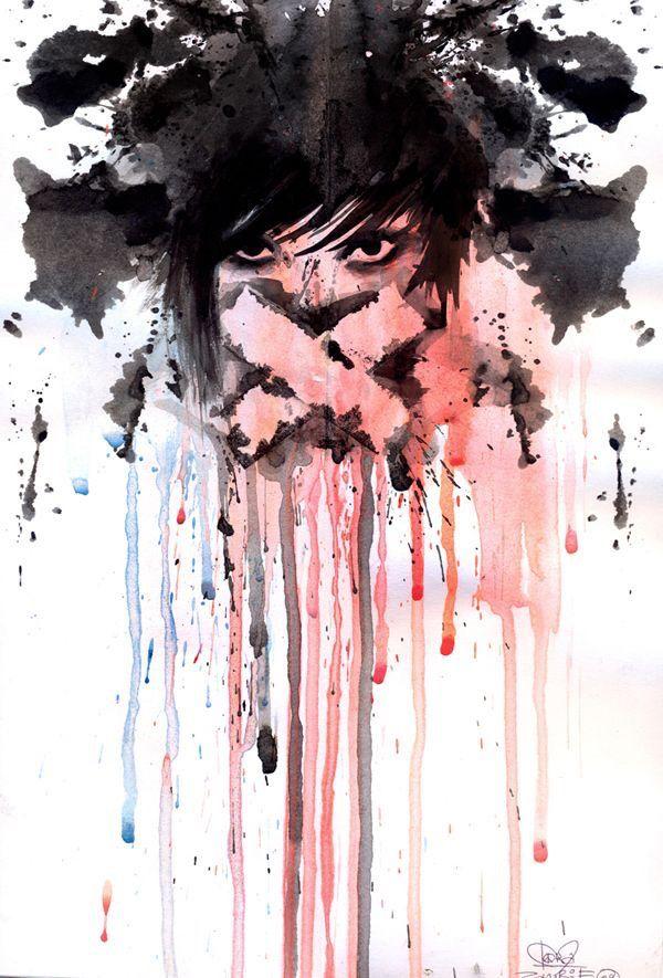 art, black, draw, drawing, eyes, girl, grunge, mouth, painting, pale, pink, shut, drawspiration, wtercolor