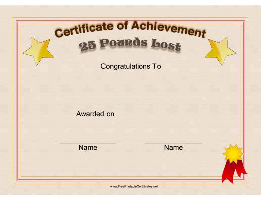 Fun Certificates For Weight Loss \u2013 Best Cars 2018